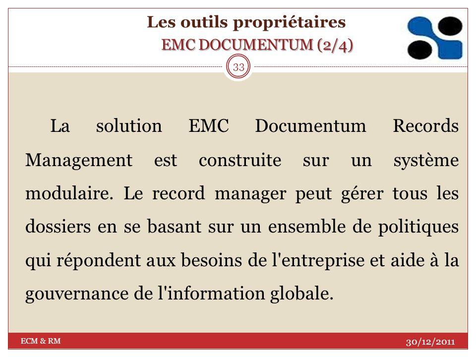 30/12/2011 ECM & RM 32 EMC DOCUMENTUM (1/4) Les outils propriétaires EMC DOCUMENTUM (1/4)