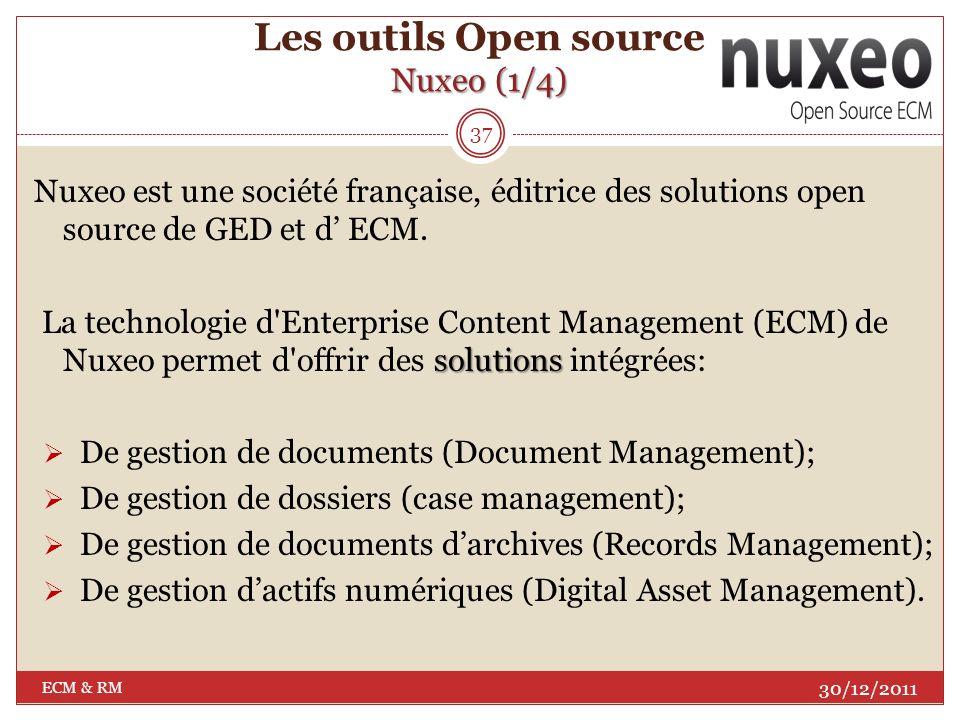 Nuxeo Les outils Open source Nuxeo 36 30/12/2011 ECM & RM