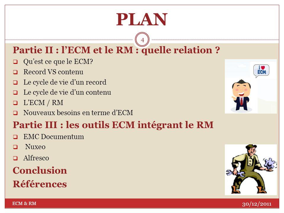 PLAN Introduction Partie I : le Records Management Quest ce que le RM? Les principes du RM Les objectifs du RM Les étapes de la mise en place dun syst