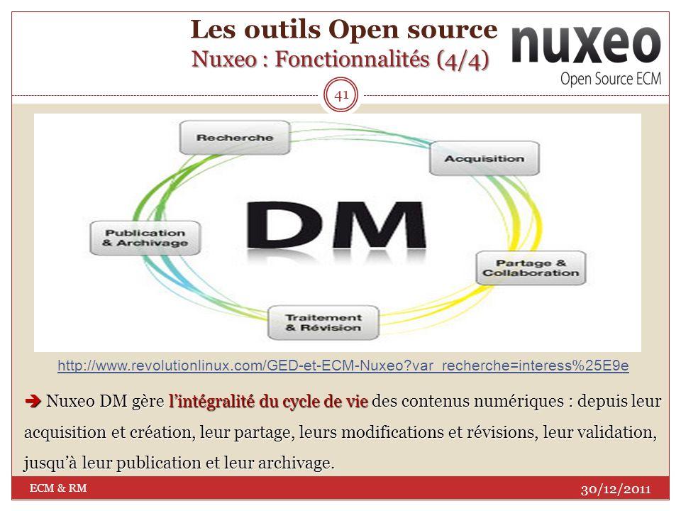 Nuxeo : Fonctionnalités (3/4) Les outils Open source Nuxeo : Fonctionnalités (3/4) 40 30/12/2011 ECM & RM www.guidecms.com/dossiers-cms/livres-blancs/