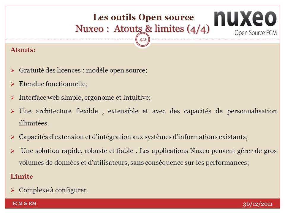 Nuxeo : Fonctionnalités (4/4) Les outils Open source Nuxeo : Fonctionnalités (4/4) 30/12/2011 ECM & RM 41 Nuxeo DM gère lintégralité du cycle de vie des contenus numériques : depuis leur acquisition et création, leur partage, leurs modifications et révisions, leur validation, jusquà leur publication et leur archivage.