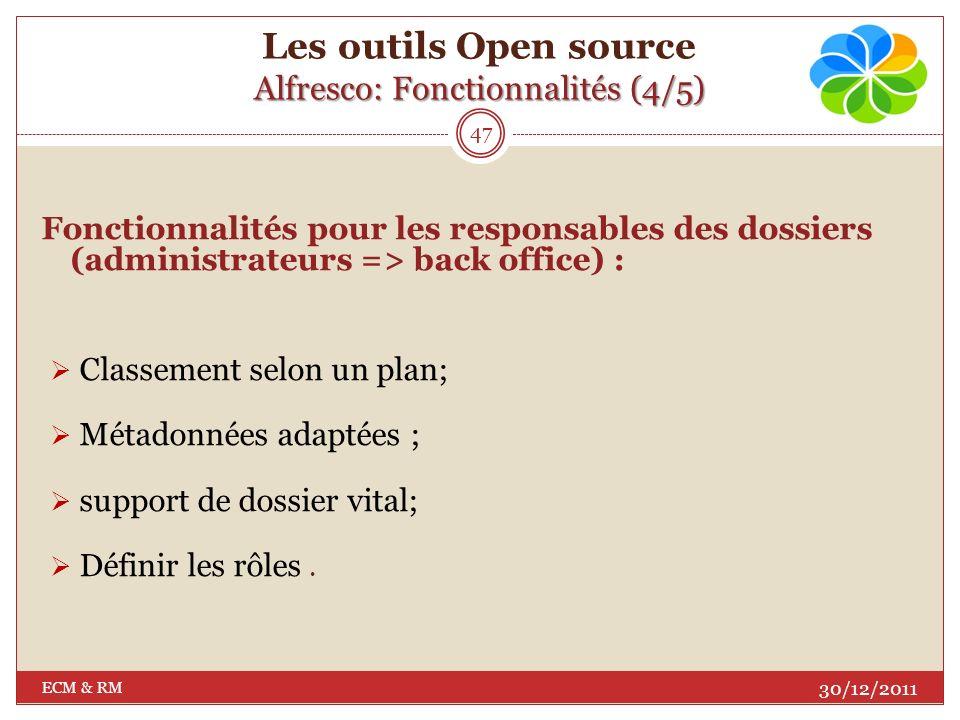 Alfresco: Fonctionnalités (3/5) Les outils Open source Alfresco: Fonctionnalités (3/5) Fonctionnalités pour lutilisateur (front office) : Classement à