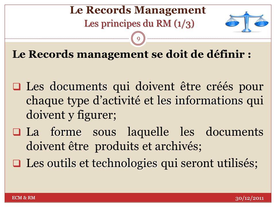 Quest ce que le R M? Le Records Management Quest ce que le R M? Selon la norme ISO 15489-1, 2002, le RM est un : Champ de lorganisation la gestion eff