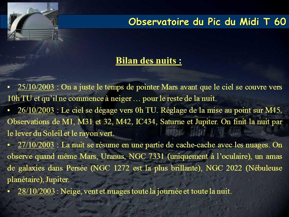 Observatoire du Pic du Midi T 60 Bilan des nuits : 25/10/2003 : On a juste le temps de pointer Mars avant que le ciel se couvre vers 10h TU et quil ne