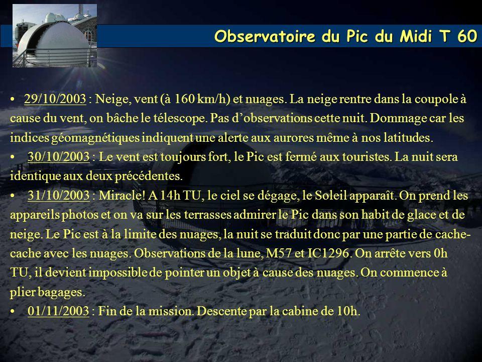 Observatoire du Pic du Midi T 60 29/10/2003 : Neige, vent (à 160 km/h) et nuages. La neige rentre dans la coupole à cause du vent, on bâche le télesco