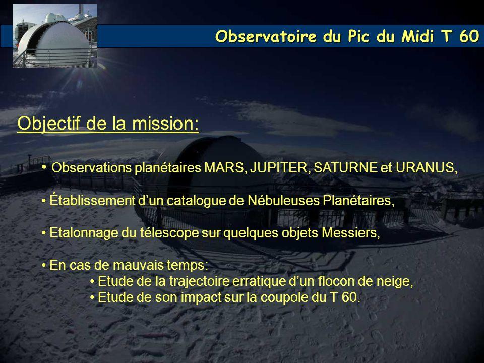Observatoire du Pic du Midi T 60 Objectif de la mission: Observations planétaires MARS, JUPITER, SATURNE et URANUS, Établissement dun catalogue de Néb