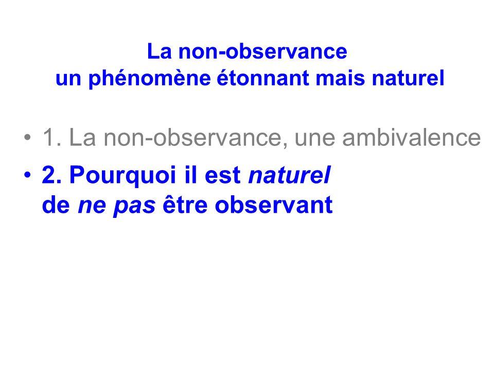 La non-observance un phénomène étonnant mais naturel 1. La non-observance, une ambivalence 2. Pourquoi il est naturel de ne pas être observant