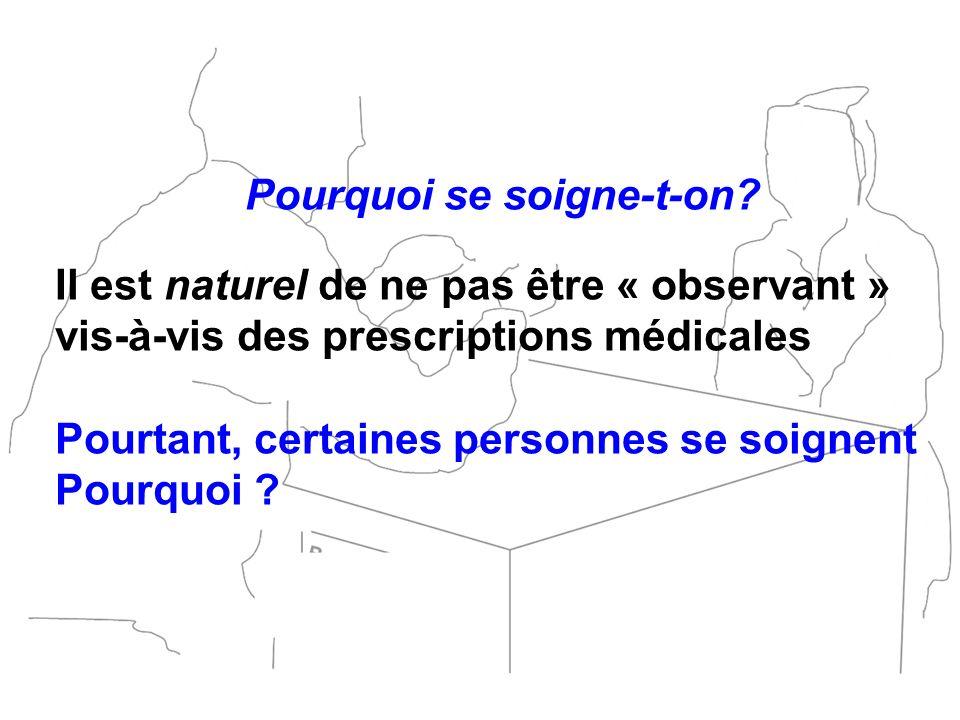 Pourquoi se soigne-t-on? Il est naturel de ne pas être « observant » vis-à-vis des prescriptions médicales Pourtant, certaines personnes se soignent P