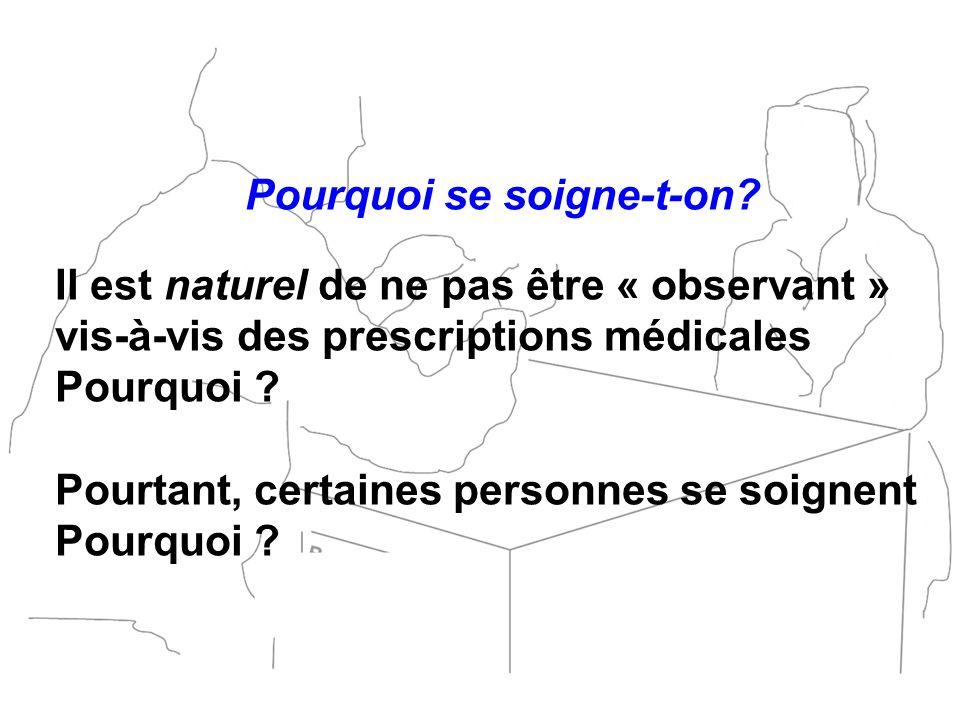 Pourquoi se soigne-t-on? Il est naturel de ne pas être « observant » vis-à-vis des prescriptions médicales Pourquoi ? Pourtant, certaines personnes se