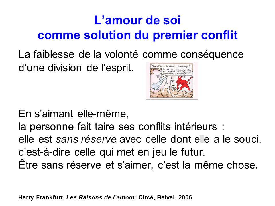 Lamour de soi comme solution du premier conflit La faiblesse de la volonté comme conséquence dune division de lesprit. En saimant elle-même, la person
