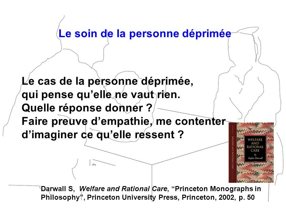 Le soin de la personne déprimée Le cas de la personne déprimée, qui pense quelle ne vaut rien. Quelle réponse donner ? Faire preuve dempathie, me cont