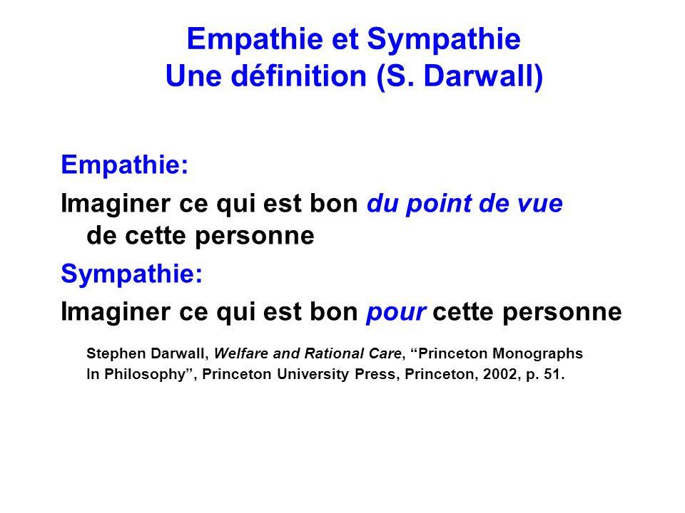 Empathie et Sympathie Une définition (S. Darwall) Empathie: Imaginer ce qui est bon du point de vue de cette personne Sympathie: Imaginer ce qui est b