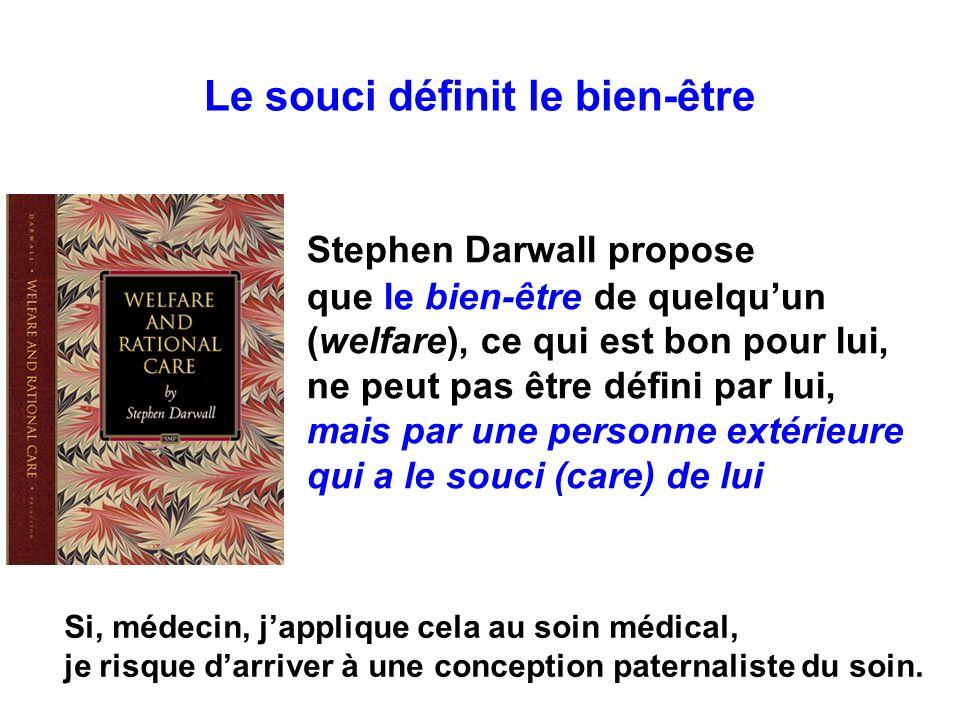 Stephen Darwall propose que le bien-être de quelquun (welfare), ce qui est bon pour lui, ne peut pas être défini par lui, mais par une personne extéri