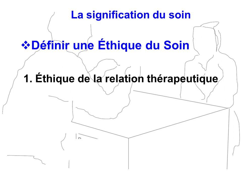 Définir une Éthique du Soin 1. Éthique de la relation thérapeutique La signification du soin