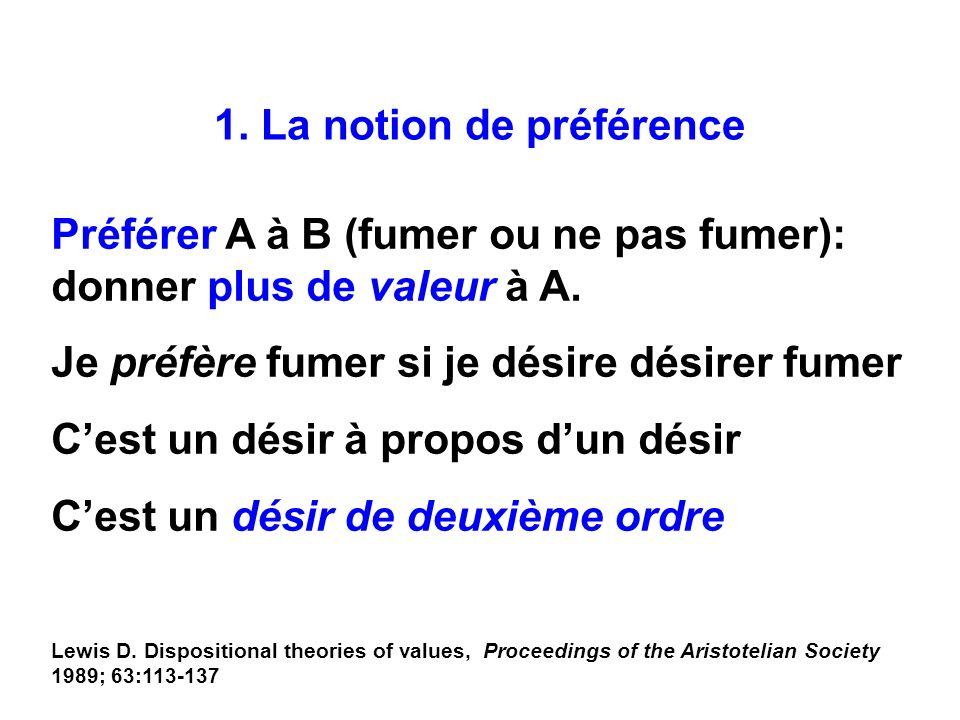 1. La notion de préférence Préférer A à B (fumer ou ne pas fumer): donner plus de valeur à A. Je préfère fumer si je désire désirer fumer Cest un dési