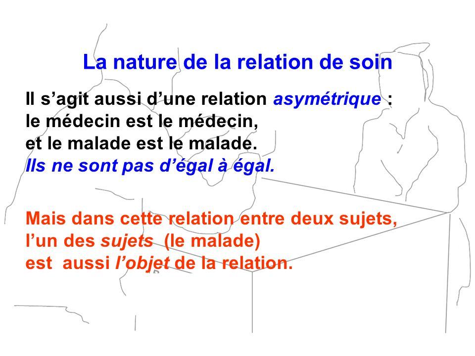 La nature de la relation de soin Il sagit aussi dune relation asymétrique : le médecin est le médecin, et le malade est le malade. Ils ne sont pas dég