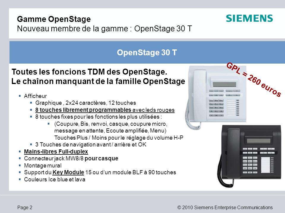 © 2010 Siemens Enterprise CommunicationsPage 2 OpenStage 30 T Gamme OpenStage Nouveau membre de la gamme : OpenStage 30 T Afficheur Graphique, 2x24 ca