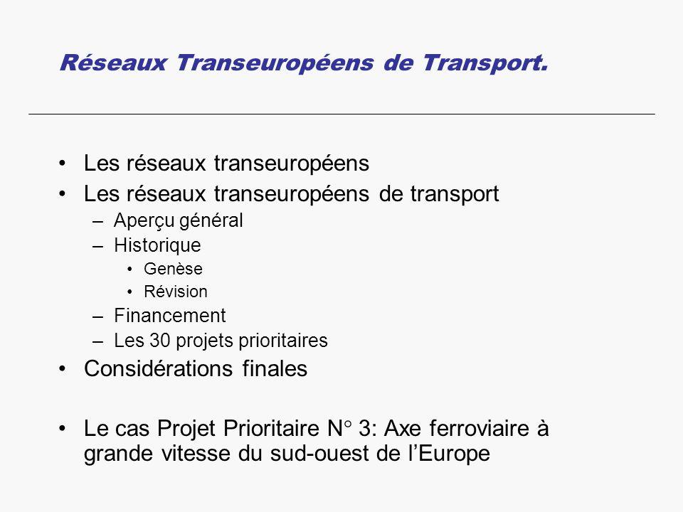 Réseaux Transeuropéens de Transport. Les réseaux transeuropéens Les réseaux transeuropéens de transport –Aperçu général –Historique Genèse Révision –F