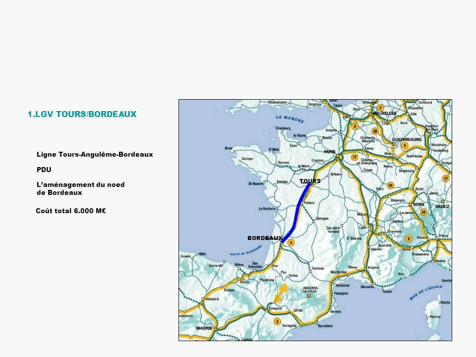 TOURS BORDEAUX 1.LGV TOURS/BORDEAUX Laménagement du noed de Bordeaux Ligne Tours-Angulême-Bordeaux PDU Coût total 6.000 M