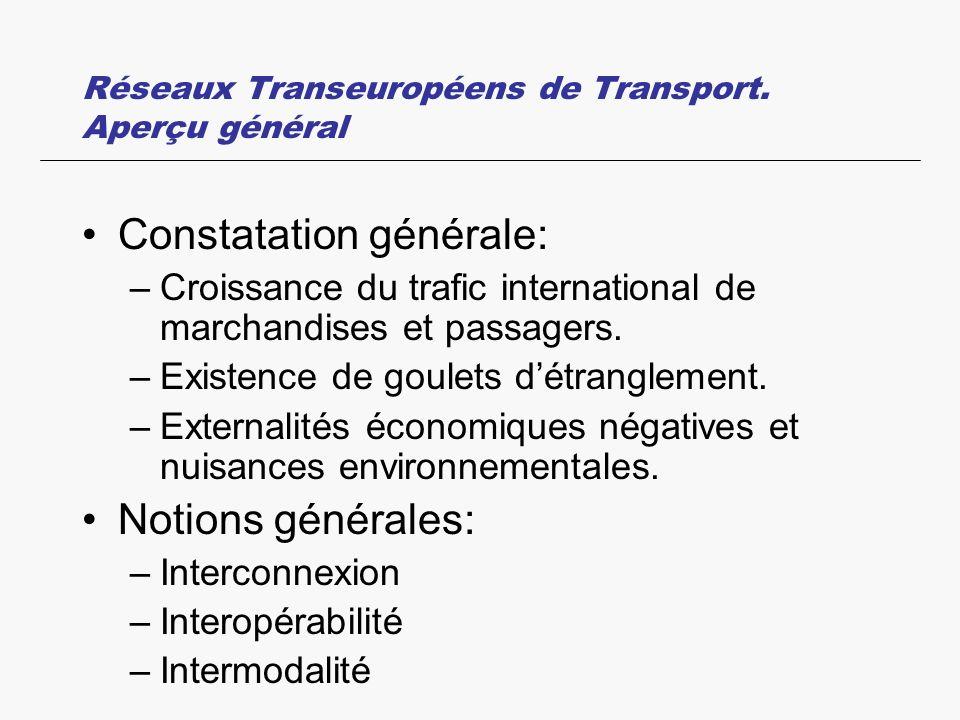 Réseaux Transeuropéens de Transport. Aperçu général Constatation générale: –Croissance du trafic international de marchandises et passagers. –Existenc