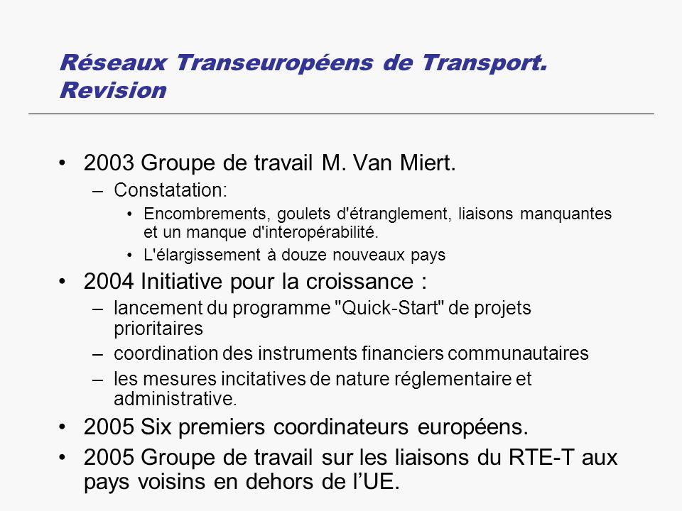 Réseaux Transeuropéens de Transport. Revision 2003 Groupe de travail M. Van Miert. –Constatation: Encombrements, goulets d'étranglement, liaisons manq