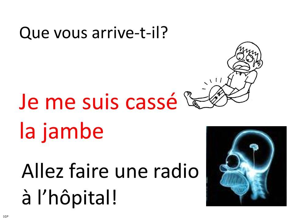 Que vous arrive-t-il? Je me suis cassé la jambe Allez faire une radio à lhôpital! SGP