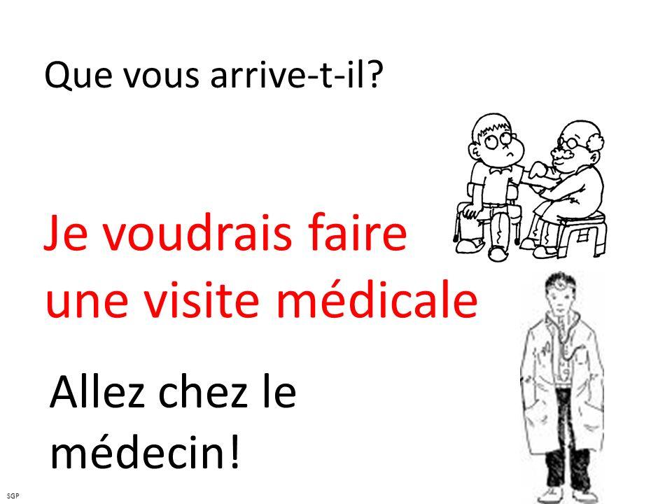Que vous arrive-t-il? Je voudrais faire une visite médicale Allez chez le médecin! SGP