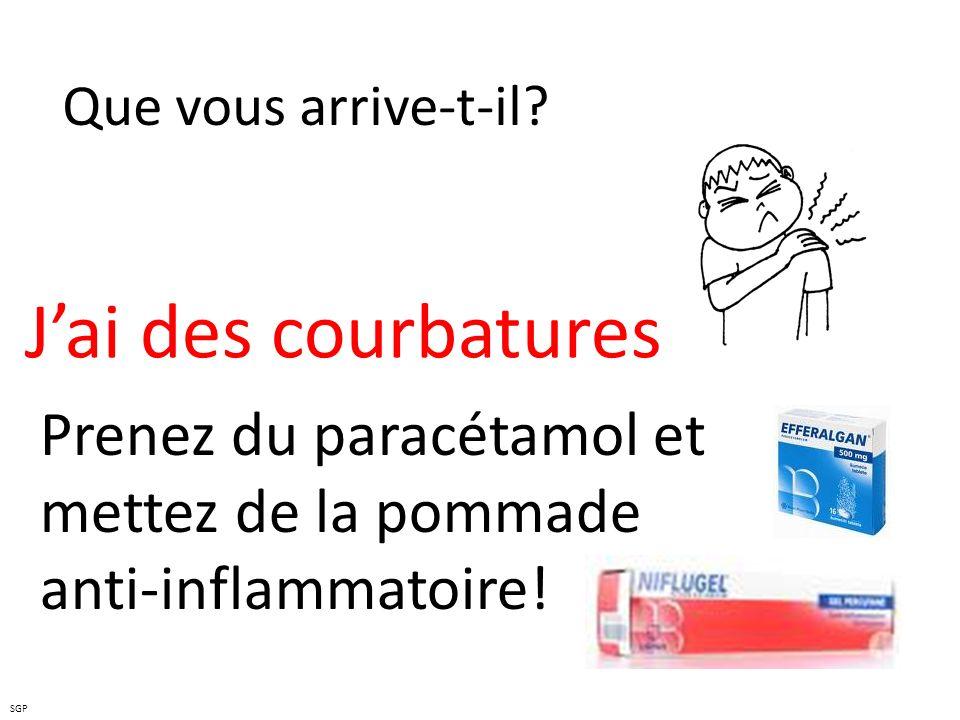 Que vous arrive-t-il? Jai des courbatures Prenez du paracétamol et mettez de la pommade anti-inflammatoire! SGP