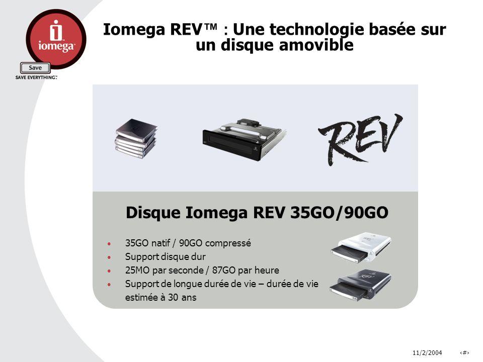 11/2/2004# Disque Iomega REV 35GO/90GO 35GO natif / 90GO compressé Support disque dur 25MO par seconde / 87GO par heure Support de longue durée de vie