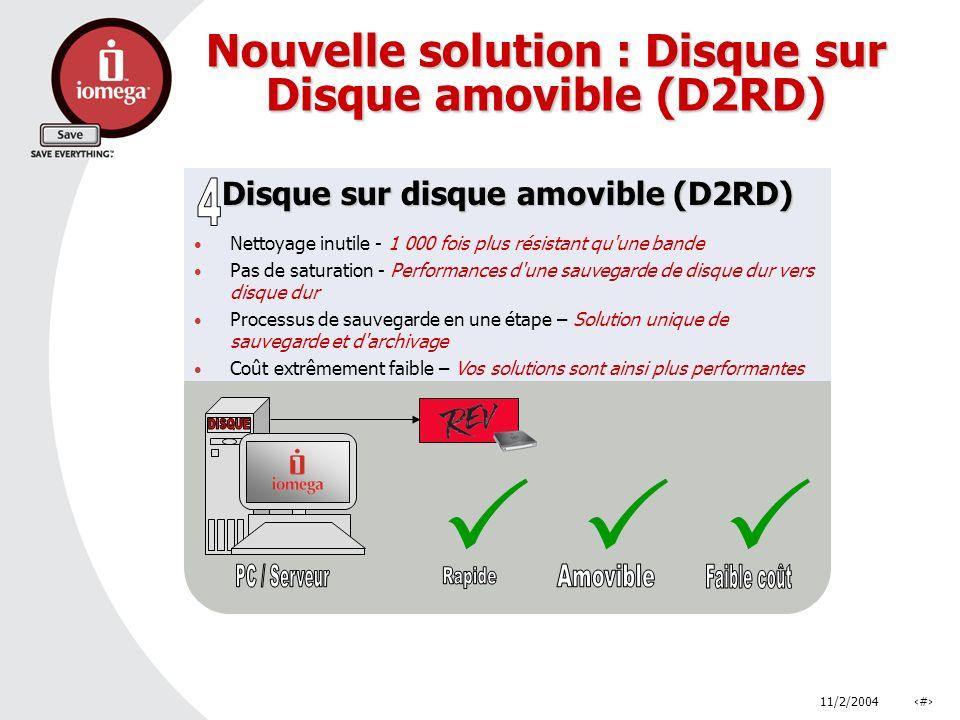 11/2/2004# Nouvelle solution : Disque sur Disque amovible (D2RD) Disque sur disque amovible (D2RD) Nettoyage inutile - 1 000 fois plus résistant qu'un