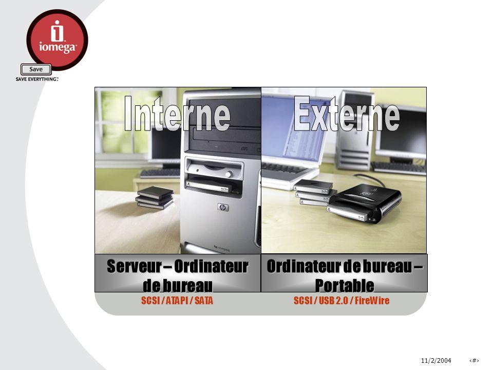 11/2/2004# Serveur – Ordinateur de bureau Ordinateur de bureau – Portable SCSI / ATAPI / SATA SCSI / USB 2.0 / FireWire