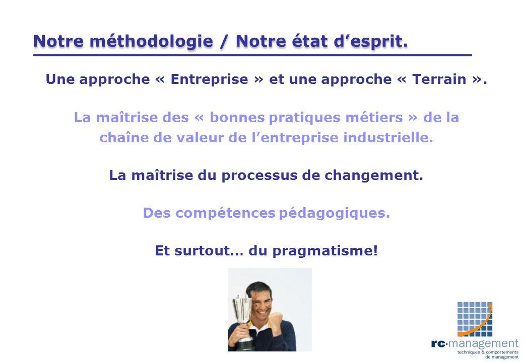 Notre méthodologie / Notre état desprit. Une approche « Entreprise » et une approche « Terrain ». La maîtrise des « bonnes pratiques métiers » de la c