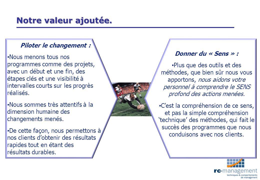 Notre valeur ajoutée. Piloter le changement : Nous menons tous nos programmes comme des projets, avec un début et une fin, des étapes clés et une visi