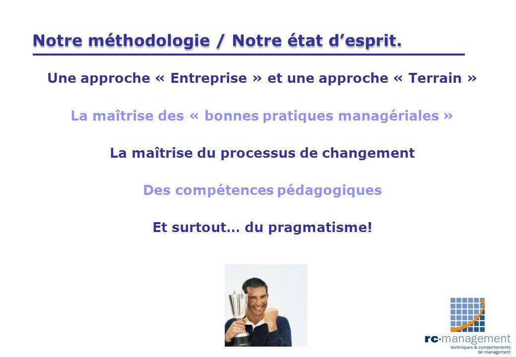 Notre méthodologie / Notre état desprit. Une approche « Entreprise » et une approche « Terrain » La maîtrise des « bonnes pratiques managériales » La