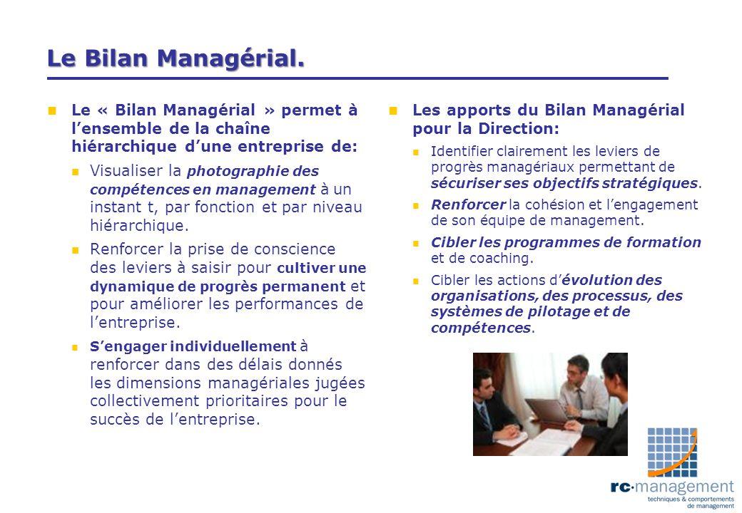 Le Bilan Managérial. n Le « Bilan Managérial » permet à lensemble de la chaîne hiérarchique dune entreprise de: n Visualiser la photographie des compé
