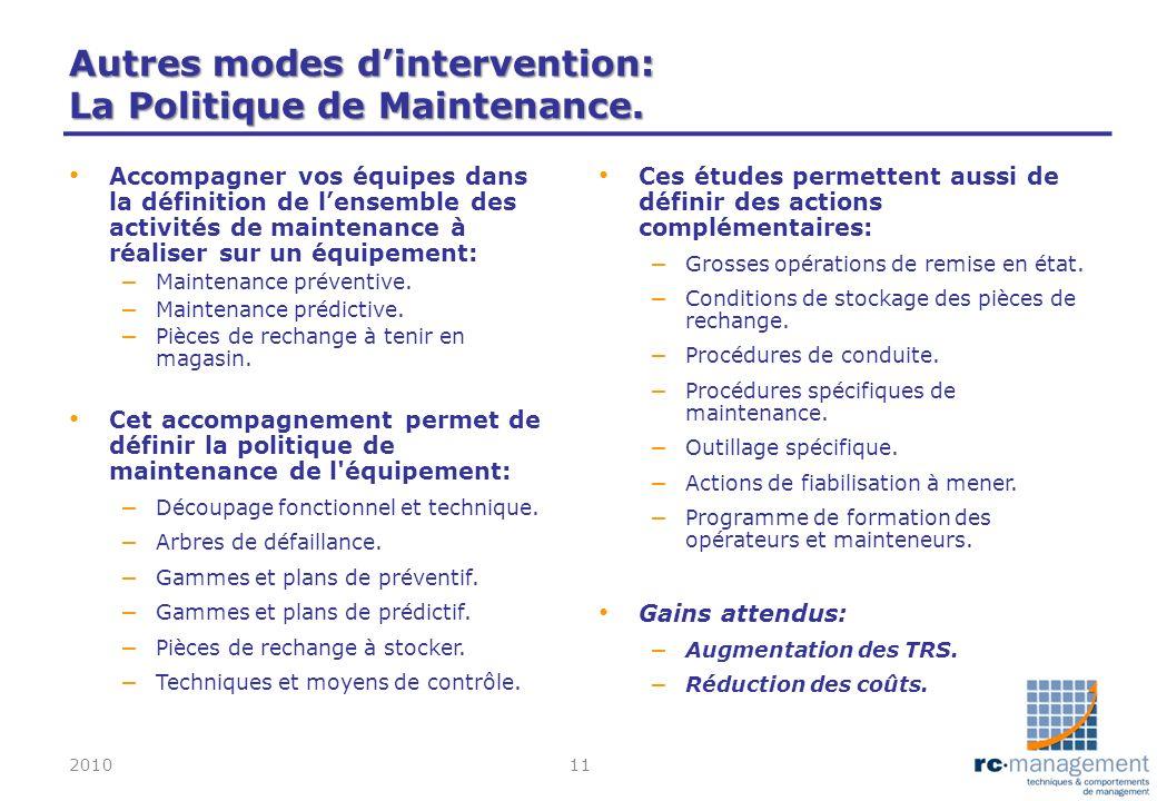 Autres modes dintervention: La Politique de Maintenance. Accompagner vos équipes dans la définition de lensemble des activités de maintenance à réalis