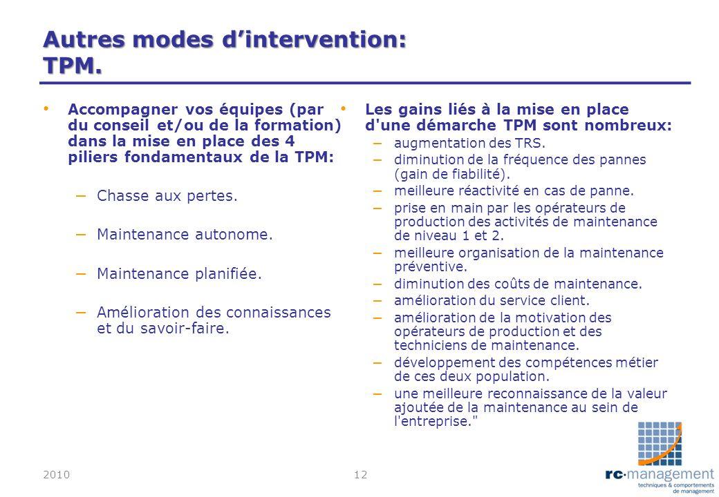 Autres modes dintervention: TPM. Accompagner vos équipes (par du conseil et/ou de la formation) dans la mise en place des 4 piliers fondamentaux de la