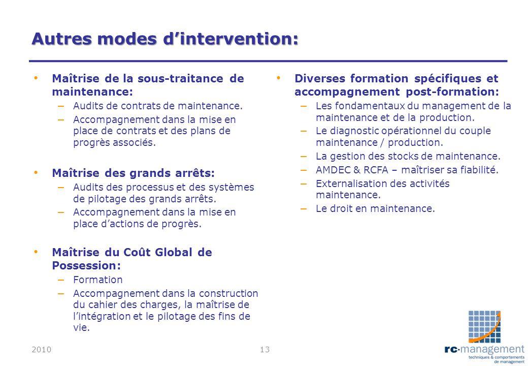 Autres modes dintervention: Maîtrise de la sous-traitance de maintenance: – Audits de contrats de maintenance. – Accompagnement dans la mise en place