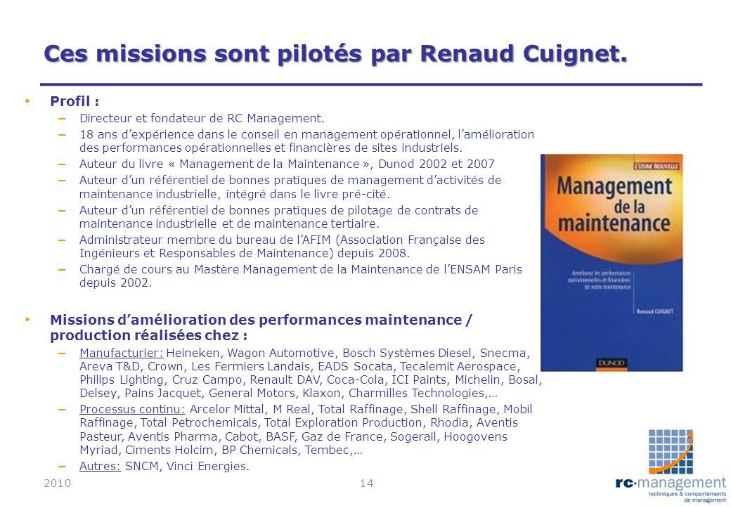 Ces missions sont pilotés par Renaud Cuignet. Profil : – Directeur et fondateur de RC Management. – 18 ans dexpérience dans le conseil en management o