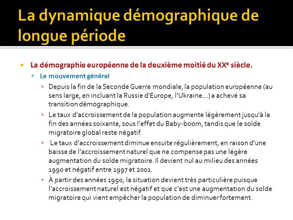La démographie européenne de la deuxième moitié du XX e siècle. Le mouvement général Depuis la fin de la Seconde Guerre mondiale, la population europé
