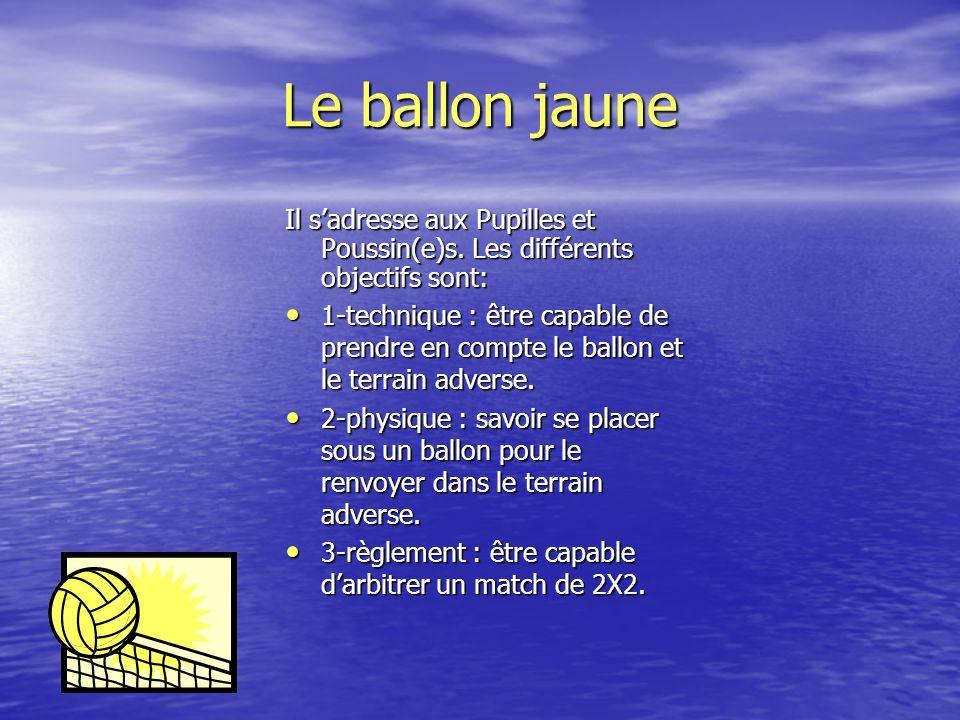 Le ballon blanc Il sadresse aux Pupilles et Poussin(e)s. Les différents objectifs sont: 1-technique : savoir maîtriser son ballon dans son cylindre :