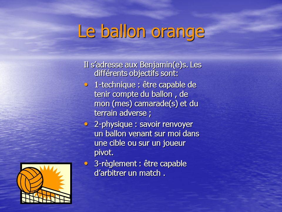 Le ballon jaune Il sadresse aux Pupilles et Poussin(e)s. Les différents objectifs sont: 1-technique : être capable de prendre en compte le ballon et l