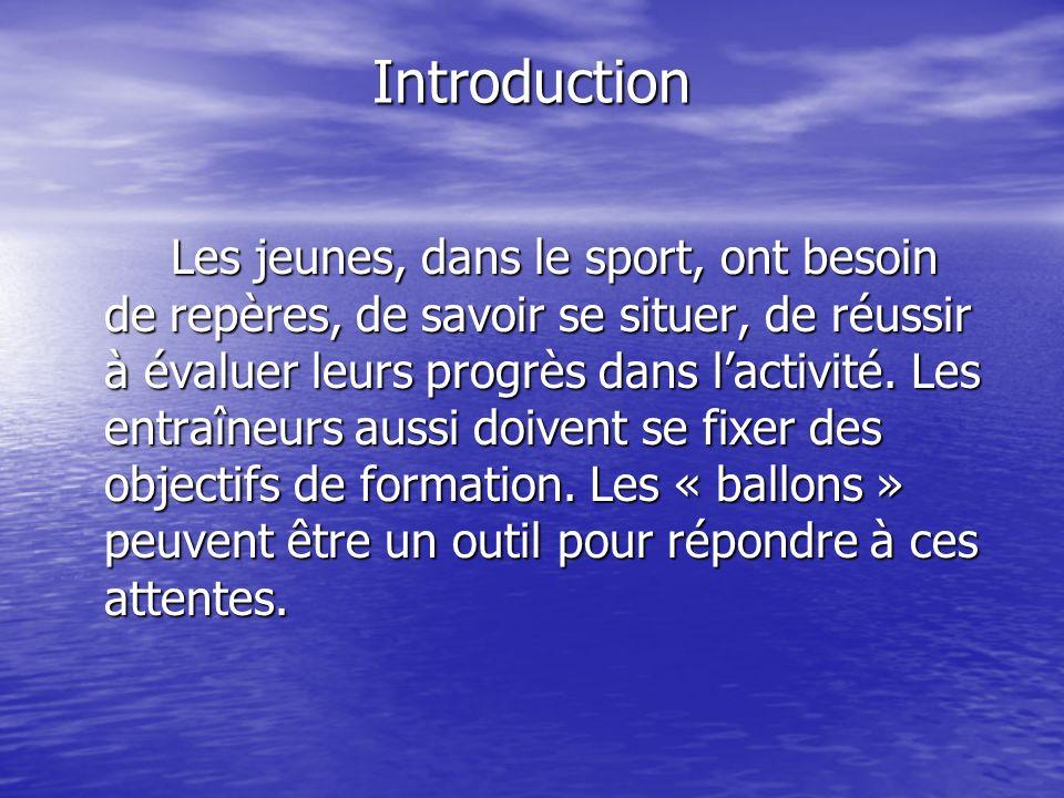 Introduction Les jeunes, dans le sport, ont besoin de repères, de savoir se situer, de réussir à évaluer leurs progrès dans lactivité.