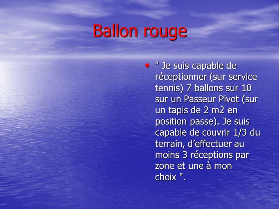 Ballon rouge je suis capable de servir 7/10 ballons dans une zone annoncée qui mettra ladversaire en difficulté.(dans les 3m, et sur une surface de 2m