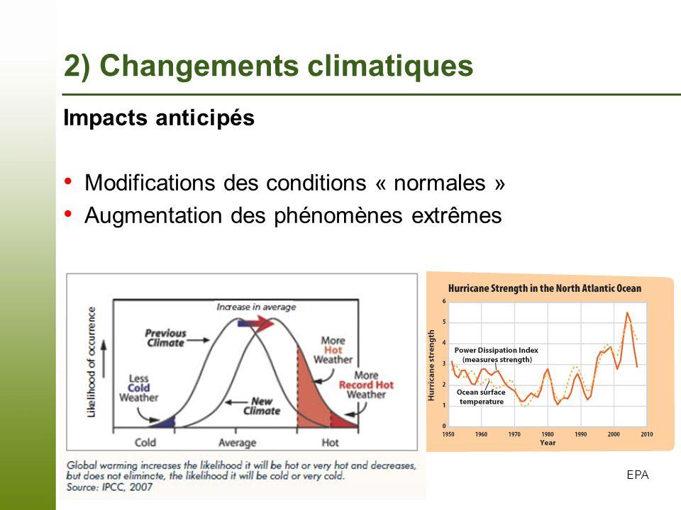 Page 11 – 7 novembre 2013 Impacts anticipés Modifications des conditions « normales » Augmentation des phénomènes extrêmes EPA 2) Changements climatiq