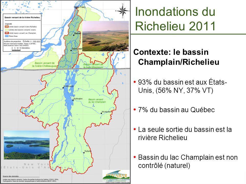 Page 18 – 7 novembre 2013 Inondations du Richelieu 2011 Contexte: le bassin Champlain/Richelieu 93% du bassin est aux États- Unis, (56% NY, 37% VT) 7%