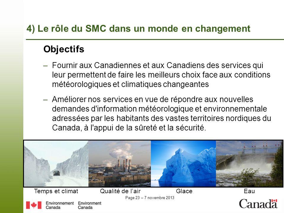 Page 23 – 7 novembre 2013 Objectifs –Fournir aux Canadiennes et aux Canadiens des services qui leur permettent de faire les meilleurs choix face aux c