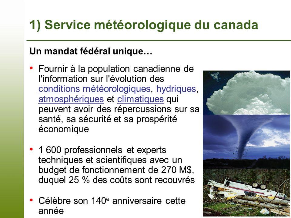 Page 3 – 7 novembre 2013 Un mandat fédéral unique… Fournir à la population canadienne de l'information sur l'évolution des conditions météorologiques,