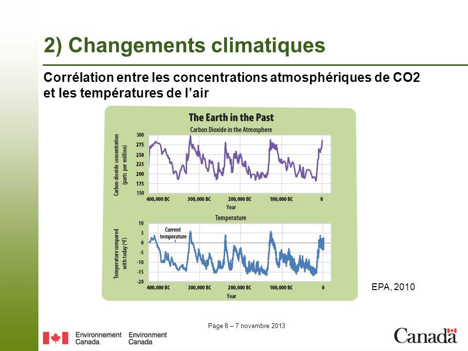 Page 8 – 7 novembre 2013 Corrélation entre les concentrations atmosphériques de CO2 et les températures de lair EPA, 2010 2) Changements climatiques
