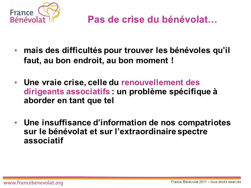 France Bénévolat 2011 – tous droits réservés Pas de crise du bénévolat… mais des difficultés pour trouver les bénévoles quil faut, au bon endroit, au
